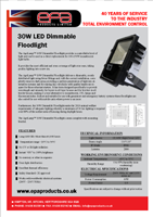 EPA 30w dimmable LED Floodlight Specification Sheet