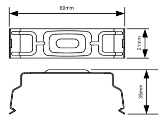 Line diagram of disano stainless steel mounting clip for fuorescent body Showing basic dimensions.