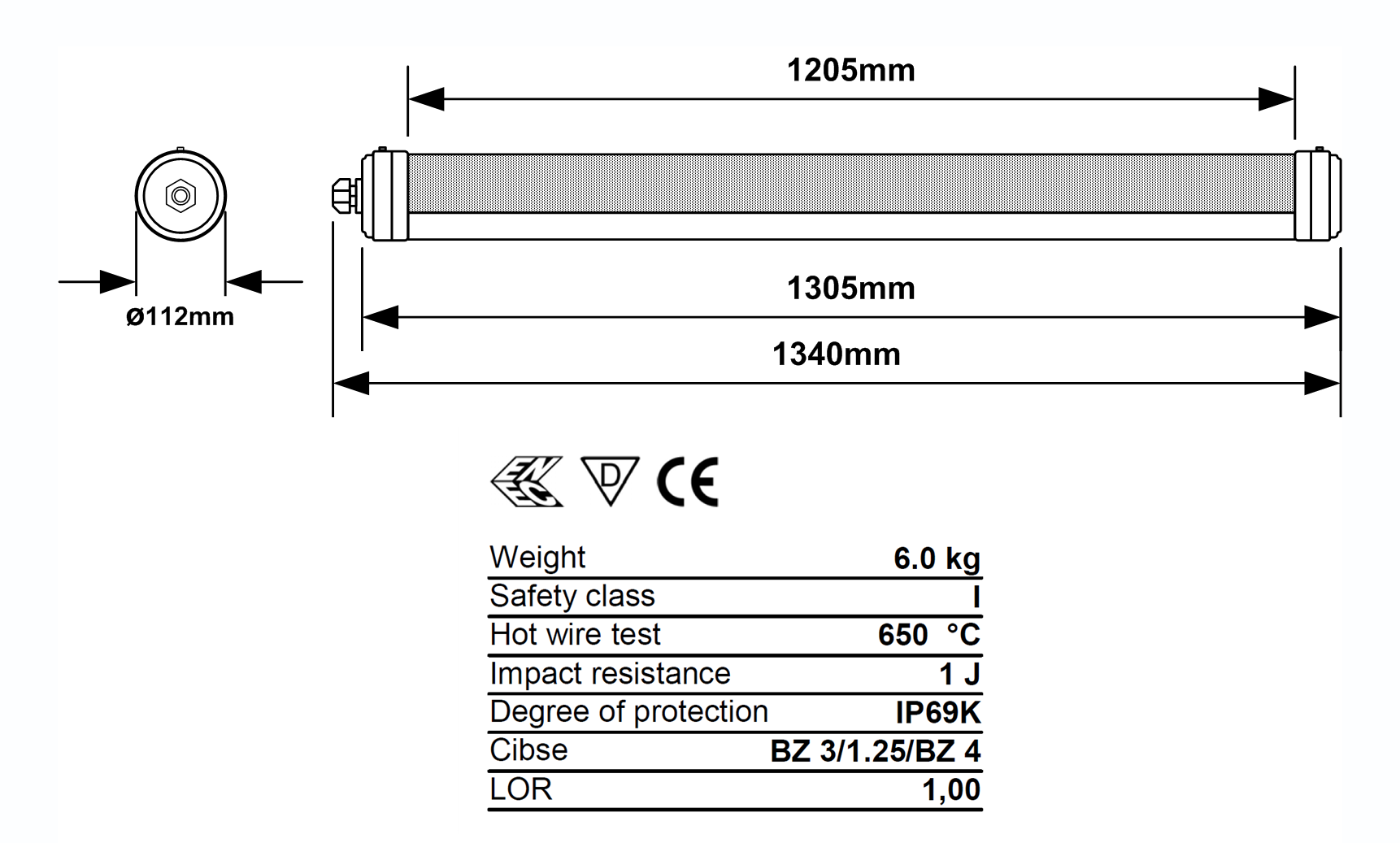 Duroxo Agritube LED Dimmable Strip Light Dimensional Diagram